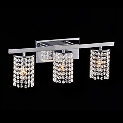 Chrome and Crystal 3-light Round Shade Wall Sconce