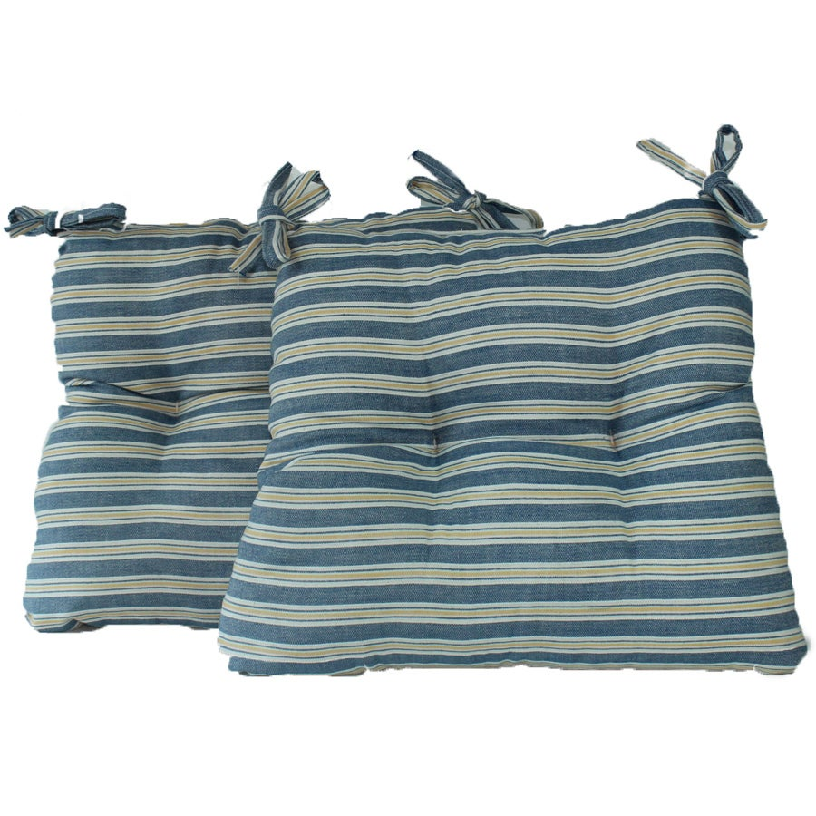 Royal Stripe Chambray Chair Pads Cushion (Set of 2)