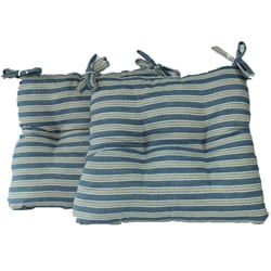 Royal Stripe Chambray Chairpad Cushion (Set of 2)