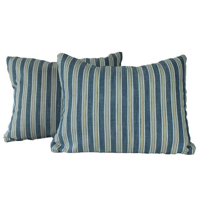 Royal Stripe Chambray Throw Pillows (Set of 2)