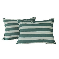 Beach Stripe Green Throw Pillows (Set of 2)