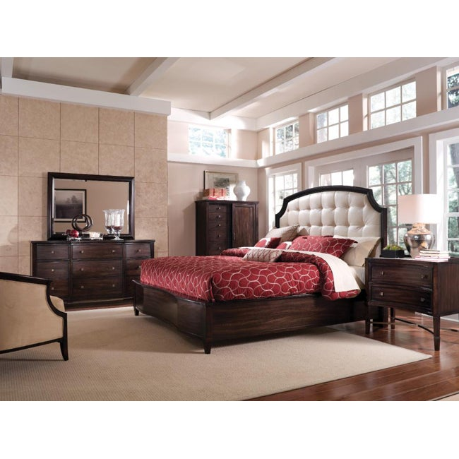 Intrigue Leather Panel King Bedroom Set 5 Pieces in Set