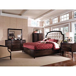 Intrigue Leather Panel King Bedroom Set (5 Pieces in Set)