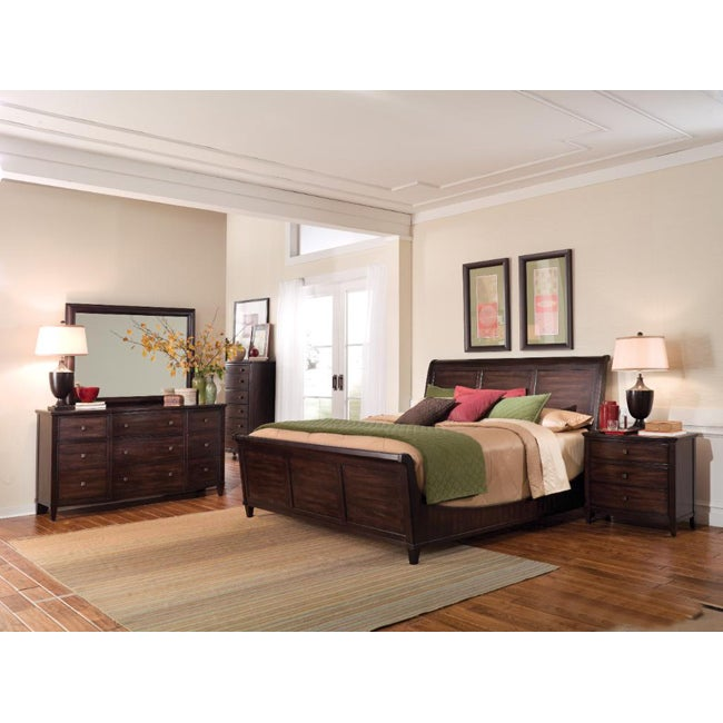 intrigue wood sleigh king bedroom set 4 pieces in set 14533516