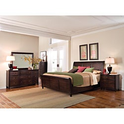 Intrigue Wood Sleigh King Bedroom Set (4 Pieces in Set)