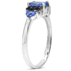 Malaika Sterling Silver Tanzanite and Black Diamond Ring