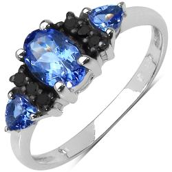 Malaika Sterling Silver Tanzanite and Black Diamond Ring