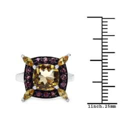 Malaika Sterling Silver Citrine and Rhodalite or London Blue and White Topaz Ring