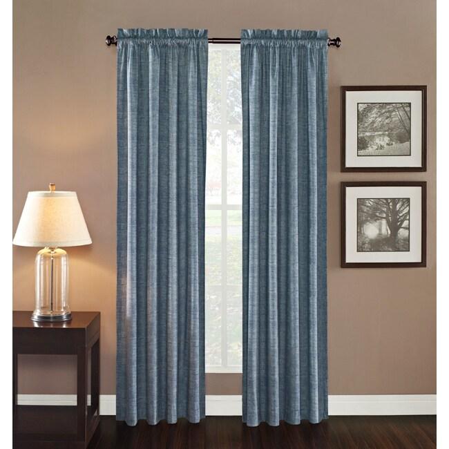 Ellie Rod Pocket Denim Print Curtain Panel - 14533562 - Overstock.com ...