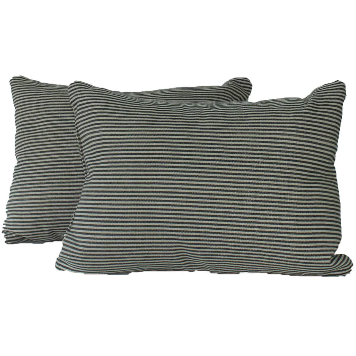 Ticking Black Throw Pillows (Set of 2)