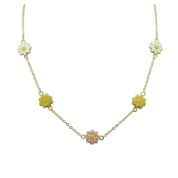 Gioelli 18k Gold Overlay Children's Enamel Daisy Necklace