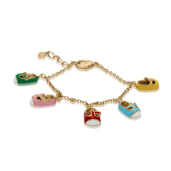 Gioelli Rhodium Plated Children's Enamel Shoes Bracelet