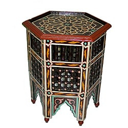 Tan/Multicolor Hand-Painted Arabesque Wooden End Table (Morocco)