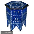 Hand-Painted Arabesque Indoor Wooden End Table (Morocco)