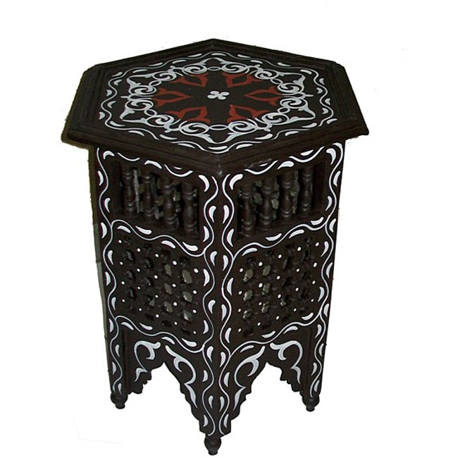 Hand-painted Black/White Arabesque Wooden Indoor End Table (Morocco)