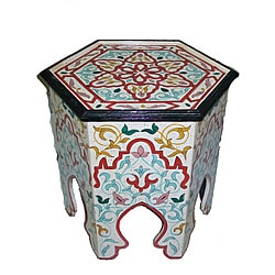 Handpainted Arabesque II Wooden End Table (Morocco)