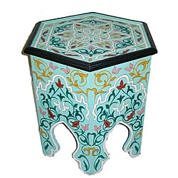 Handpainted Arabesque II Aqua Green Wooden End Table (Morocco)