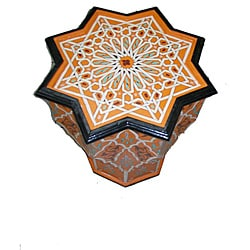 Handpainted Atlas Star Wooden End Table (Morocco)