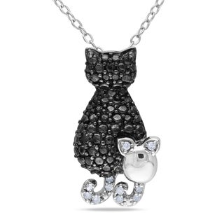 M by Miadora Sterling Silver Diamond Accent Cat and Mouse Necklace