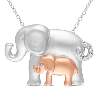 M by Miadora Sterling Silver Diamond Accent Elephant Necklace
