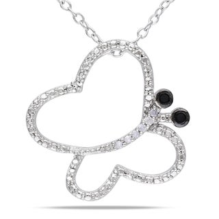 Haylee Jewels Sterling Silver Black and White Diamond Butterfly Necklace