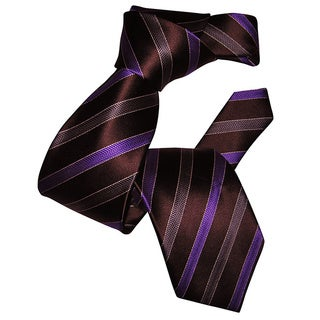 Dmitry Men's Dark Brown Striped Italian Silk Tie