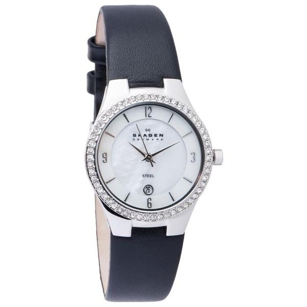 Skagen Women's 630SSLB1 Black Leather Strap Watch