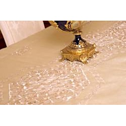 Prestige Roman Two-tone White Embroidered Formal Tablecloth 72 x 144 inches