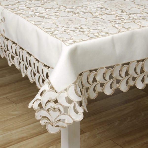 Prestige Two Tone French Floral Lace Table Linen 72 x 144 inches