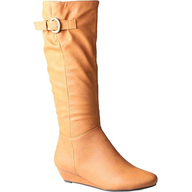 Refresh by Beston Women's 'Godiva' Cognac Wedged Boots