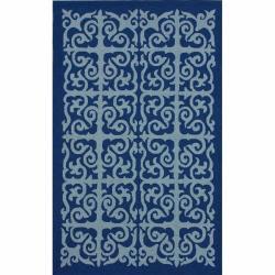 Handmade San Miguel Blue Indoor/ Outdoor Rug (8' x 10')