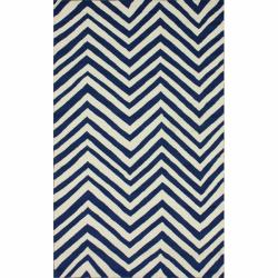 nuLOOM Handmade Chevron Indoor/ Outdoor Blue Rug (8' x 10')
