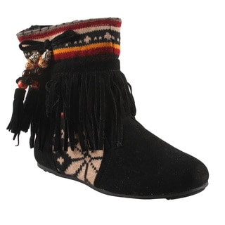 Refresh by Beston Women's 'Mini-03' Black Fringe Boots