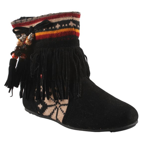 Refresh by Beston Women's 'Mini-03' Black Fringe Boots