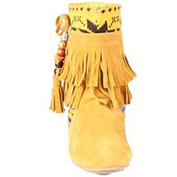 Refresh by Beston Women's 'Mini-03' Mustard Fringe Boots