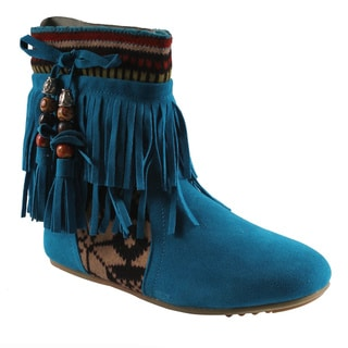 Refresh by Beston Women's 'Mini-03' Blue Fringe Boots