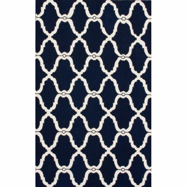 NuLOOM Handmade Moroccan Trellis Navy Wool Rug (7'6 X 9'6