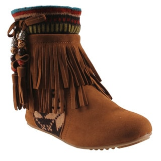 Refresh by Beston Women's 'Mini-03' Chestunt Fringe Boots