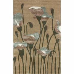 nuLOOM Handmade Floral Natural Faux Silk/ Wool Rug (7'6 x 9'6)