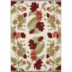nuLOOM Handmade Flatweave Floral Mosaic Ivory Wool Rug (7'6 x 9'6)