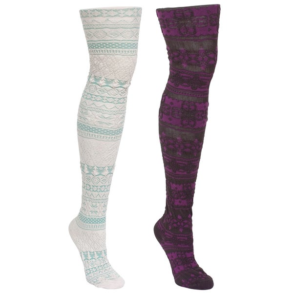 Muk Luks Teens Microfiber Tights 2 Pair Pack (Size Small)