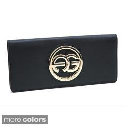 Anais Gvani Women's Italian Leather Logo Clutch Wallet