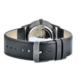 Skagen Men's Stainless Steel Black Leather Strap Watch