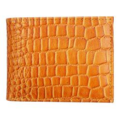 Men's Tan Croc Leather Bi-fold Wallet