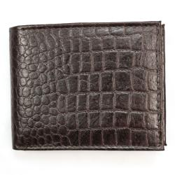 Men's Brown Croc-embossed Leather Bi-fold Wallet