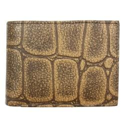 Men's Tan Croc-embossed Leather Bi-fold Wallet