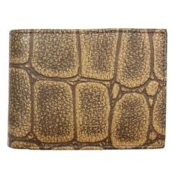 Men's Tan Croc-embossed Leather Bi-fold Wallet