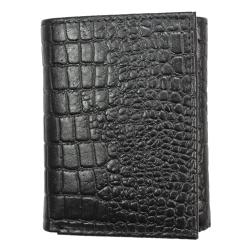 Men's Black Croc-embossed Leather Tri-fold Wallet