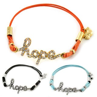 West Coast Jewelry Goldtone/ Silvertone Clear Crystal 'Hope' Colored Stretch Cord Bracelet
