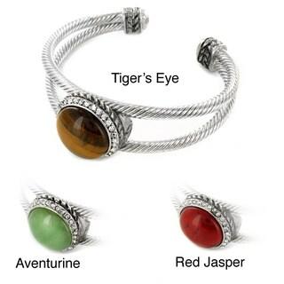 Silvertone Aventurine, Red Jasper, Turquoise or Tiger's Eye Cuff Bracelet